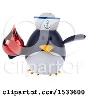 Clipart Of A 3d Chubby Penguin Sailor Holding A Blood Drop On A White Background Royalty Free Illustration