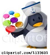 3d Chubby Penguin Sailor Holding Messages On A White Background