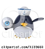 Clipart Of A 3d Chubby Penguin Sailor Holding An Eye On A White Background Royalty Free Illustration