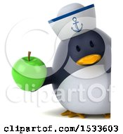 Clipart Of A 3d Chubby Penguin Sailor Holding An Apple On A White Background Royalty Free Illustration