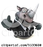Clipart Of A 3d Business Rhinoceros On A White Background Royalty Free Illustration