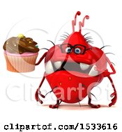 Clipart Of A 3d Red Germ Monster Holding A Cupcake On A White Background Royalty Free Illustration
