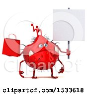 Clipart Of A 3d Red Germ Monster Holding A Shopping Bag On A White Background Royalty Free Illustration