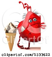Clipart Of A 3d Red Germ Monster Holding An Ice Cream Cone On A White Background Royalty Free Illustration