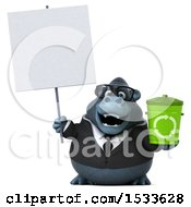 Clipart Of A 3d Business Gorilla Holding A Recycle Bin On A White Background Royalty Free Illustration