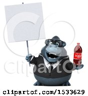 Clipart Of A 3d Business Gorilla Holding A Soda On A White Background Royalty Free Illustration
