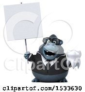 Clipart Of A 3d Business Gorilla Holding A Tooth On A White Background Royalty Free Illustration