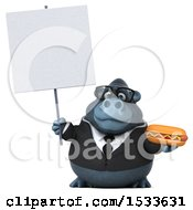 Clipart Of A 3d Business Gorilla Holding A Hot Dog On A White Background Royalty Free Illustration