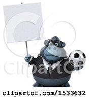 Clipart Of A 3d Business Gorilla Holding A Soccer Ball On A White Background Royalty Free Illustration