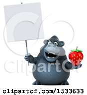 Clipart Of A 3d Gorilla Holding A Strawberry On A White Background Royalty Free Illustration
