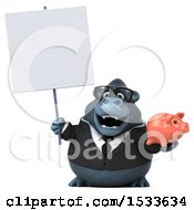 Clipart Of A 3d Business Gorilla Holding A Piggy Bank On A White Background Royalty Free Illustration