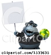 Clipart Of A 3d Business Gorilla Holding A Globe On A White Background Royalty Free Illustration