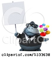 3d Business Gorilla Holding Messages On A White Background