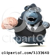 Clipart Of A 3d Business Gorilla Holding A Brain On A White Background Royalty Free Illustration