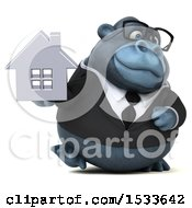 Clipart Of A 3d Business Gorilla Holding A House On A White Background Royalty Free Illustration