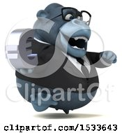 Clipart Of A 3d Business Gorilla Holding A Euro On A White Background Royalty Free Illustration
