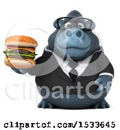 Clipart Of A 3d Business Gorilla Holding A Burger On A White Background Royalty Free Illustration