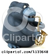 3d Gorilla Playing A Saxophone On A White Background