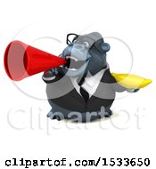 Clipart Of A 3d Business Gorilla Holding A Banana On A White Background Royalty Free Illustration