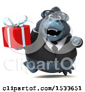 Clipart Of A 3d Business Gorilla Holding A Gift On A White Background Royalty Free Illustration