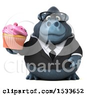 Clipart Of A 3d Business Gorilla Holding A Cupcake On A White Background Royalty Free Illustration
