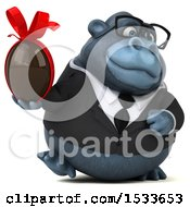 Clipart Of A 3d Business Gorilla Holding A Chocolate Egg On A White Background Royalty Free Illustration