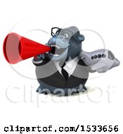 Clipart Of A 3d Business Gorilla Holding Plane On A White Background Royalty Free Illustration