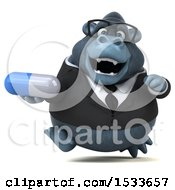 Clipart Of A 3d Business Gorilla Holding A Pill On A White Background Royalty Free Illustration