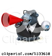 Clipart Of A 3d Business Gorilla Holding An Eye On A White Background Royalty Free Illustration