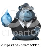 Clipart Of A 3d Business Gorilla Holding A Water Drop On A White Background Royalty Free Illustration