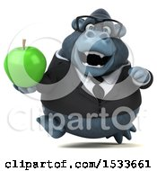 Clipart Of A 3d Business Gorilla Holding An Apple On A White Background Royalty Free Illustration