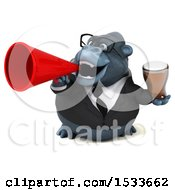 Clipart Of A 3d Business Gorilla Holding A Beer On A White Background Royalty Free Illustration