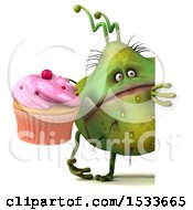 Clipart Of A 3d Green Germ Monster Holding A Cupcake On A White Background Royalty Free Illustration