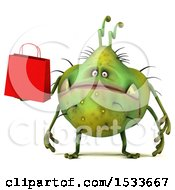 3d Green Germ Monster Holding A Shopping Bag On A White Background