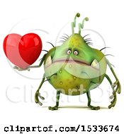 Clipart Of A 3d Green Germ Monster Holding A Heart On A White Background Royalty Free Illustration
