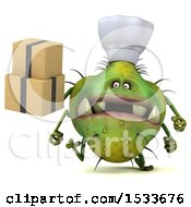 Clipart Of A 3d Green Germ Monster Holding Boxes On A White Background Royalty Free Illustration