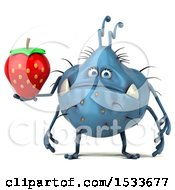 Clipart Of A 3d Blue Monster Or Germ Character Holding A Strawberry On A White Background Royalty Free Illustration