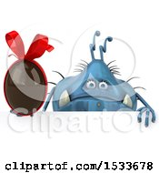 Clipart Of A 3d Blue Monster Or Germ Character Holding A Chocolate Egg On A White Background Royalty Free Illustration