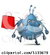Clipart Of A 3d Blue Monster Or Germ Character Holding A Shopping Bag On A White Background Royalty Free Illustration