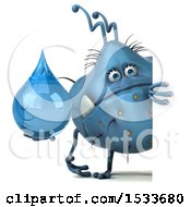 Clipart Of A 3d Blue Monster Or Germ Character Holding A Water Drop On A White Background Royalty Free Illustration