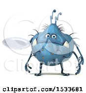 Clipart Of A 3d Blue Monster Or Germ Character Holding A Plate On A White Background Royalty Free Illustration
