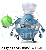 Clipart Of A 3d Blue Monster Or Germ Character Holding An Apple On A White Background Royalty Free Illustration