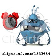 Clipart Of A 3d Blue Monster Or Germ Character Holding An Alarm Clock On A White Background Royalty Free Illustration