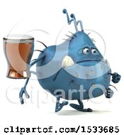 Clipart Of A 3d Blue Monster Or Germ Character Holding A Beer On A White Background Royalty Free Illustration
