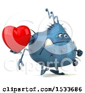 Clipart Of A 3d Blue Monster Or Germ Character Holding A Heart On A White Background Royalty Free Illustration