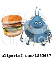 Clipart Of A 3d Blue Monster Or Germ Character Holding A Burger On A White Background Royalty Free Illustration