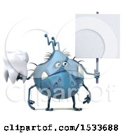 Clipart Of A 3d Blue Monster Or Germ Character Holding A Tooth On A White Background Royalty Free Illustration