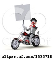 3d Black And White Clown Riding A Chopper Motorcycle On A White Background