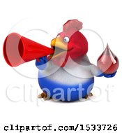 Clipart Of A 3d Chubby French Chicken Holding A Blood Drop On A White Background Royalty Free Illustration