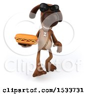 Poster, Art Print Of 3d Brown Chocolate Lab Dog Holding A Hot Dog On A White Background